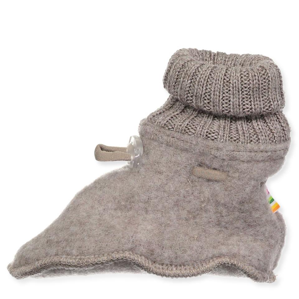 Fleece-Hausschuhe aus Wolle in Beige