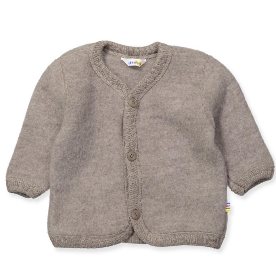 Fleece-Cardigan aus Wolle in beige