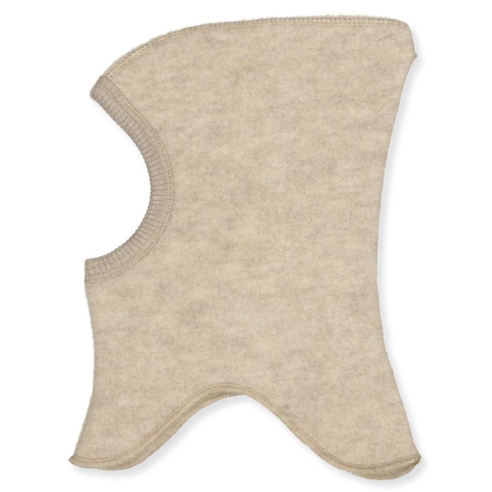 Fleece-Schlupfmütze aus Wolle in Creme