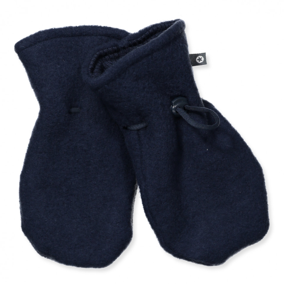 Fleece-Handschuhe aus Wolle in Navy