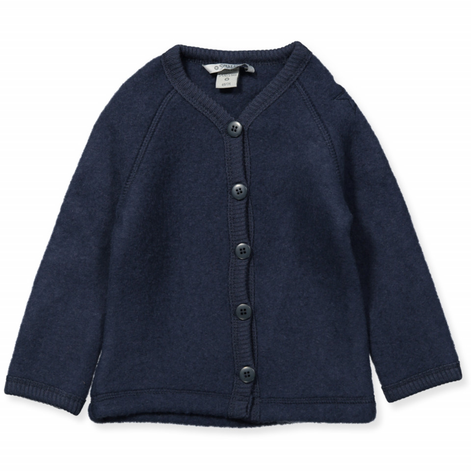Fleece-Cardigan aus Wolle in Navy