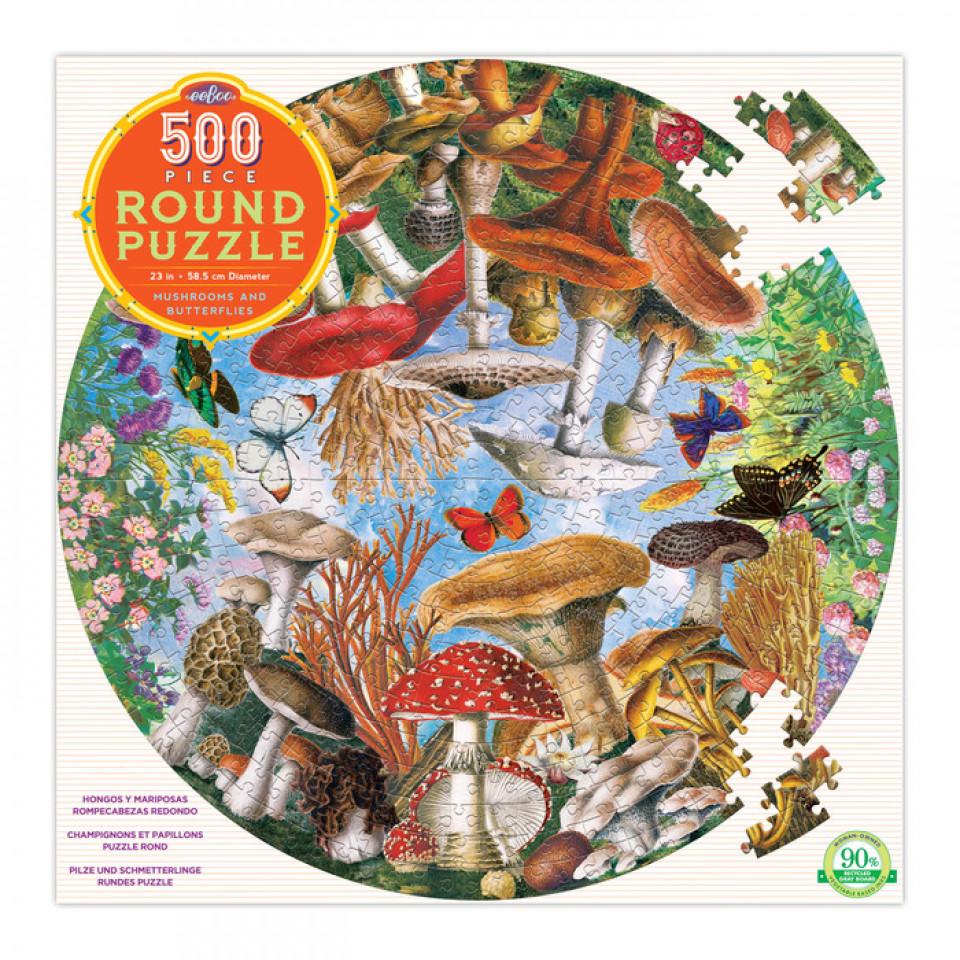 Puzzle 500 Teile - Pilze und Schmetterlinge