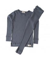 Graublaues Ripp-Schlafanzug