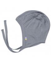 Graue Babymütze aus Wolle/Seide