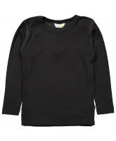 Langarmshirt aus Wolle/Seide in Schwarz