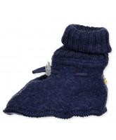 Fleece-Hausschuhe aus Wolle in Blau