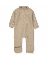 Fleece-Strampler aus Wolle in Creme