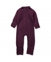 Fleece-Strampler aus Wolle in Aubergine