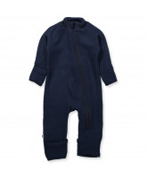 Fleece-Strampler aus Wolle in Navy