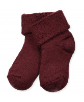 Babysocken mit Wolle in Bordeaux