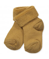 Babysocken mit Wolle in Bronze