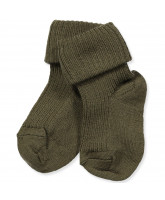Babysocken mit Wolle in Army