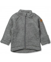 Fleece-Jacke aus Wolle in Grau