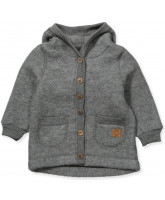 Fleece-Cardigan aus Wolle in Grau