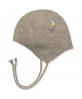 Fleece-Babymütze aus Wolle in Beige