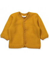 Fleece-Cardigan in Curry aus Wolle