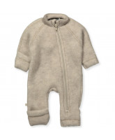 Fleece-Strampler aus Wolle in Beige