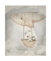 Poster Flying Whale - 40x50 cm