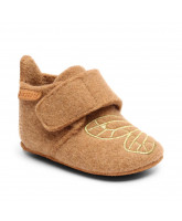 Hausschuhe aus Wolle in Camel/Gold