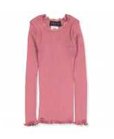 Langarmshirt mit Seide in Pale Rose