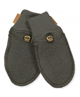 Fleece-Handschuhe aus Wolle in Black Olive