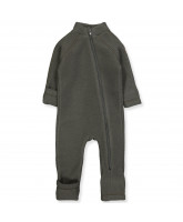 Fleece-Overall aus Wolle in Black Olive