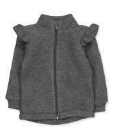 Fleece-Jacke aus Wolle in Anthracite Melange